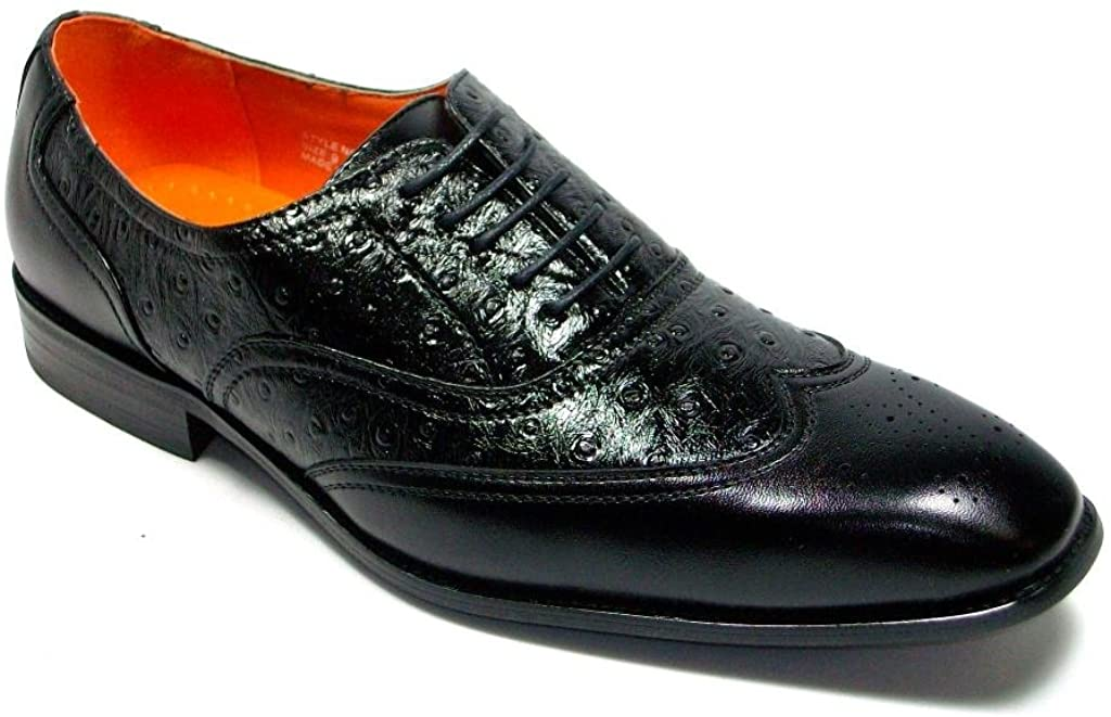 Ferro Aldo Men's 109125 Faux Ostrich Lace Up Wing Tip Dress Shoes