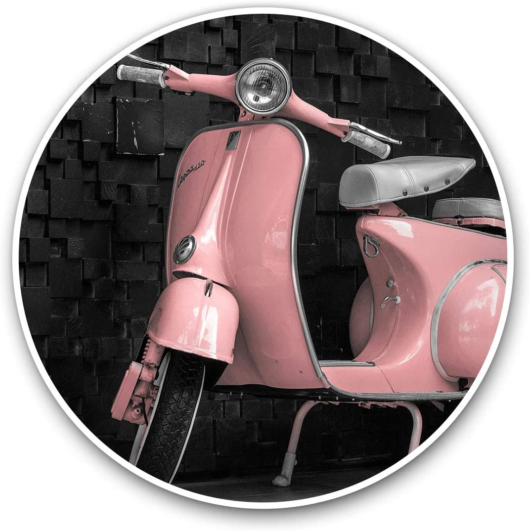 Awesome Vinyl Stickers (Set of 2) 10cm - Pink Retro Scooter Moped Bike Fun Decals for Laptops,Tablets,Luggage,Scrap Booking,Fridges,Cool Gift #24020