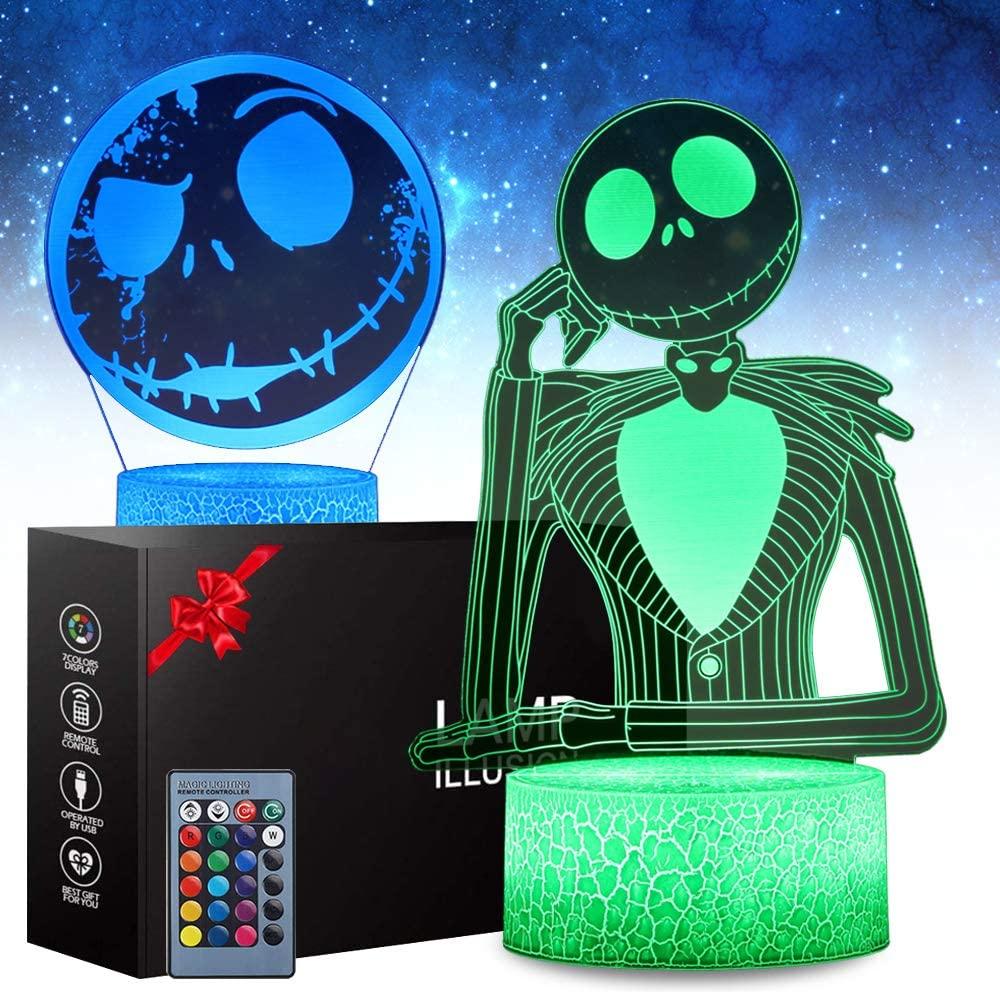 SJIAHEE Halloween Town Pumpkin King Jack Skellington 3D Illusion Night Light Gifts, Control Halloween Decor for Kids Bedroom, Creative Lighting for Kids (2 Pattern 16 Color)