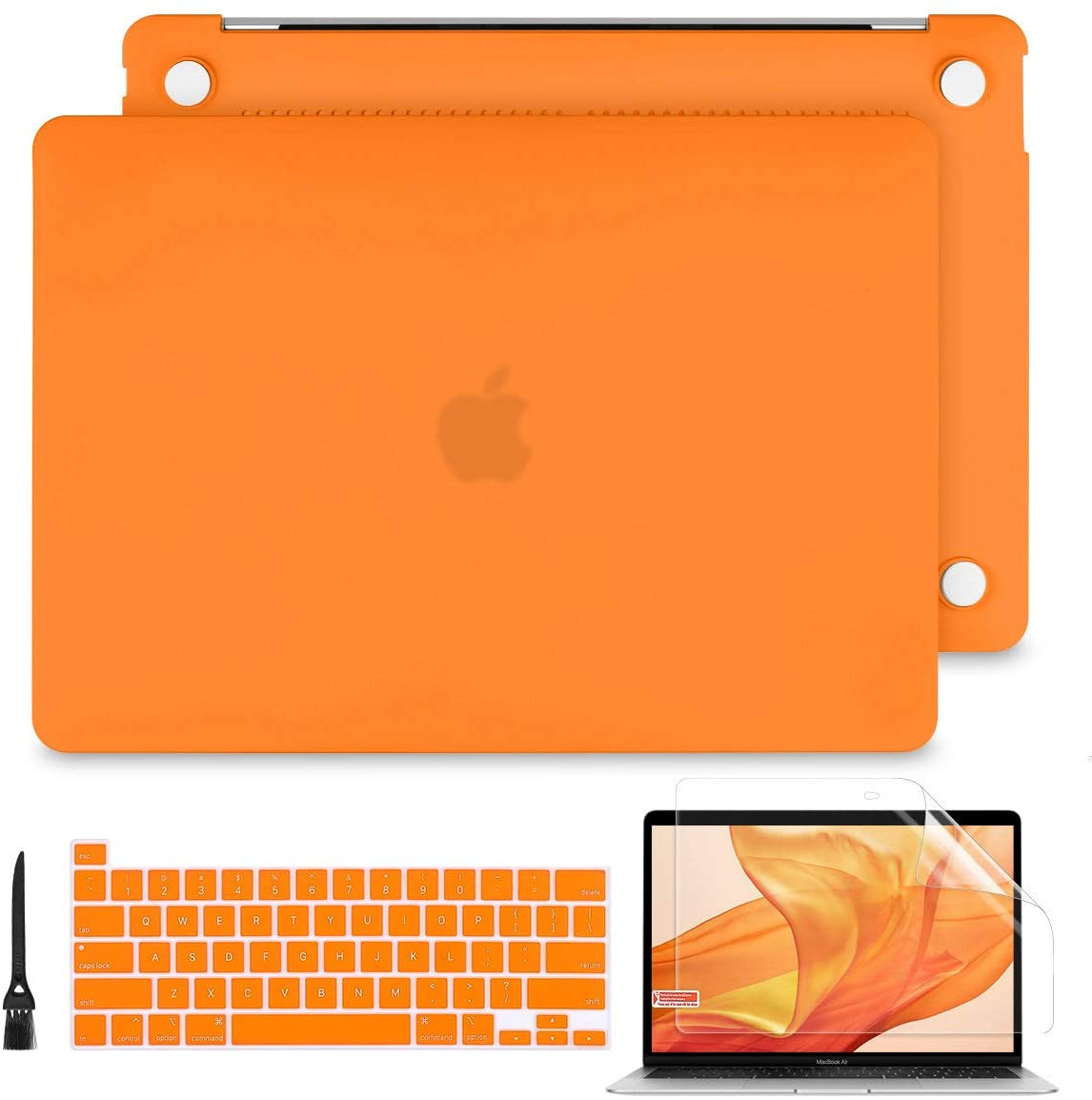 Batianda Hard Case for MacBook Pro 13 2020 Release A2289/A2251 Printing Rubberized Hard Shell Case Cover+Keyboard Cover + Screen Protector for NewMacBook Pro 13 Inch Touch Bar, Matte Orange