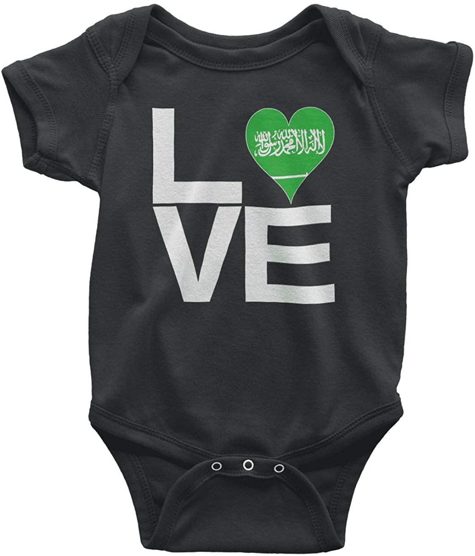 HARD EDGE DESIGN Infants Love Block Saudi Arabia Heart Bodysuit, Newborn, Black