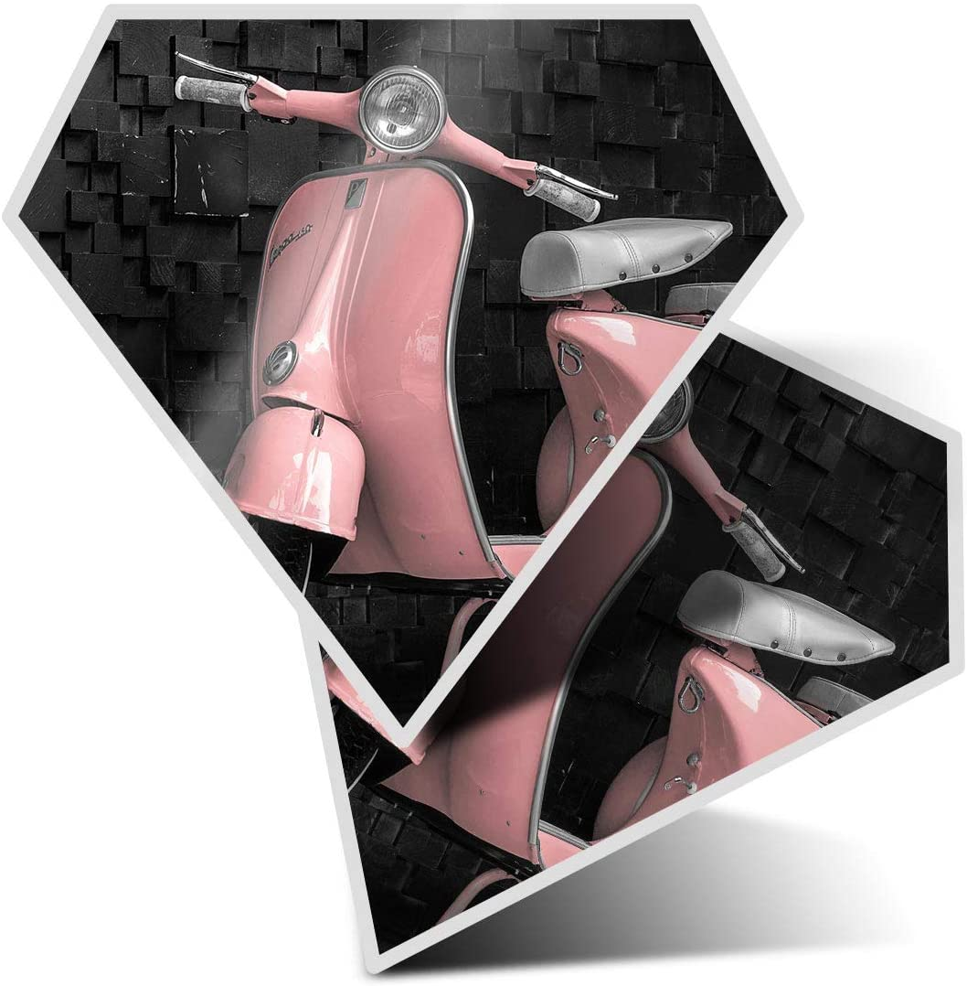 Awesome 2 x Diamond Stickers 7.5 cm - Pink Retro Scooter Moped Bike Fun Decals for Laptops,Tablets,Luggage,Scrap Booking,Fridges,Cool Gift #24020