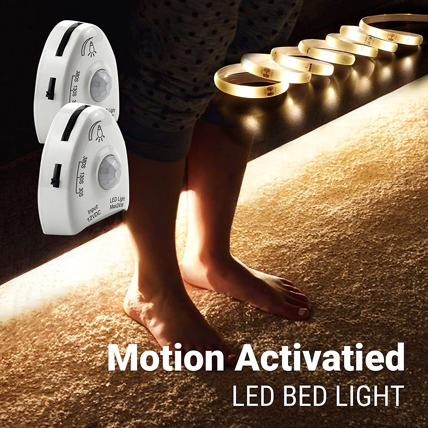 Motion Activated Night Light, illumiForce 5ft Under Bed LED Strip Light, Motion Sensor Navigation Light for Baby, Bedside, Stairs, Warm White Dimmable (Dual and Single)