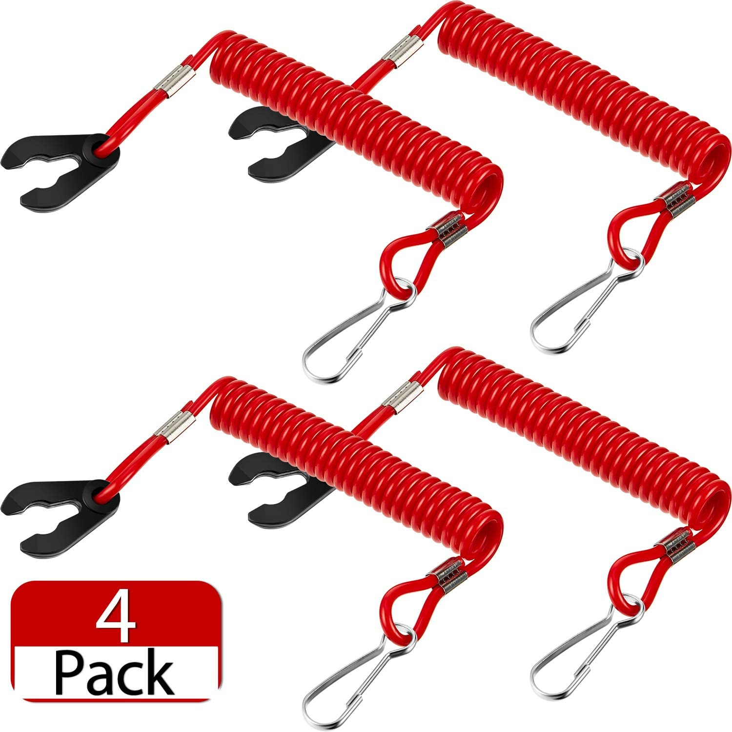 Frienda 4 Pieces Universal Outboard Kill Switch Keys with Safety Stop Switch Lanyard Suit for Most Board Engine
