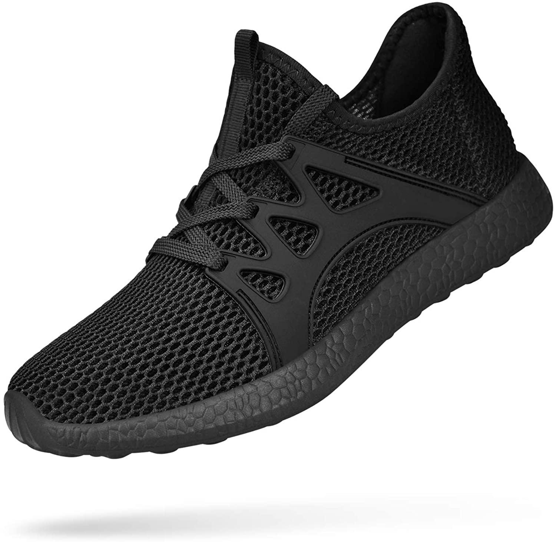 Feetmat Womens Slip on Sneakers Ultra Lightweight Breathable Mesh Athletic Walking Running Shoes Black/Black 10
