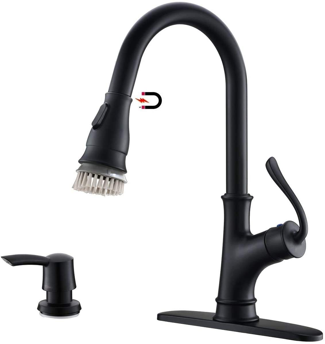 APPASO Matte Black Pull Down Kitchen Faucet with Magnetic Docking Sprayer - Single Handle Antique High Arc One Hole Pull Out Kitchen sink Faucets and Soap Dispenser