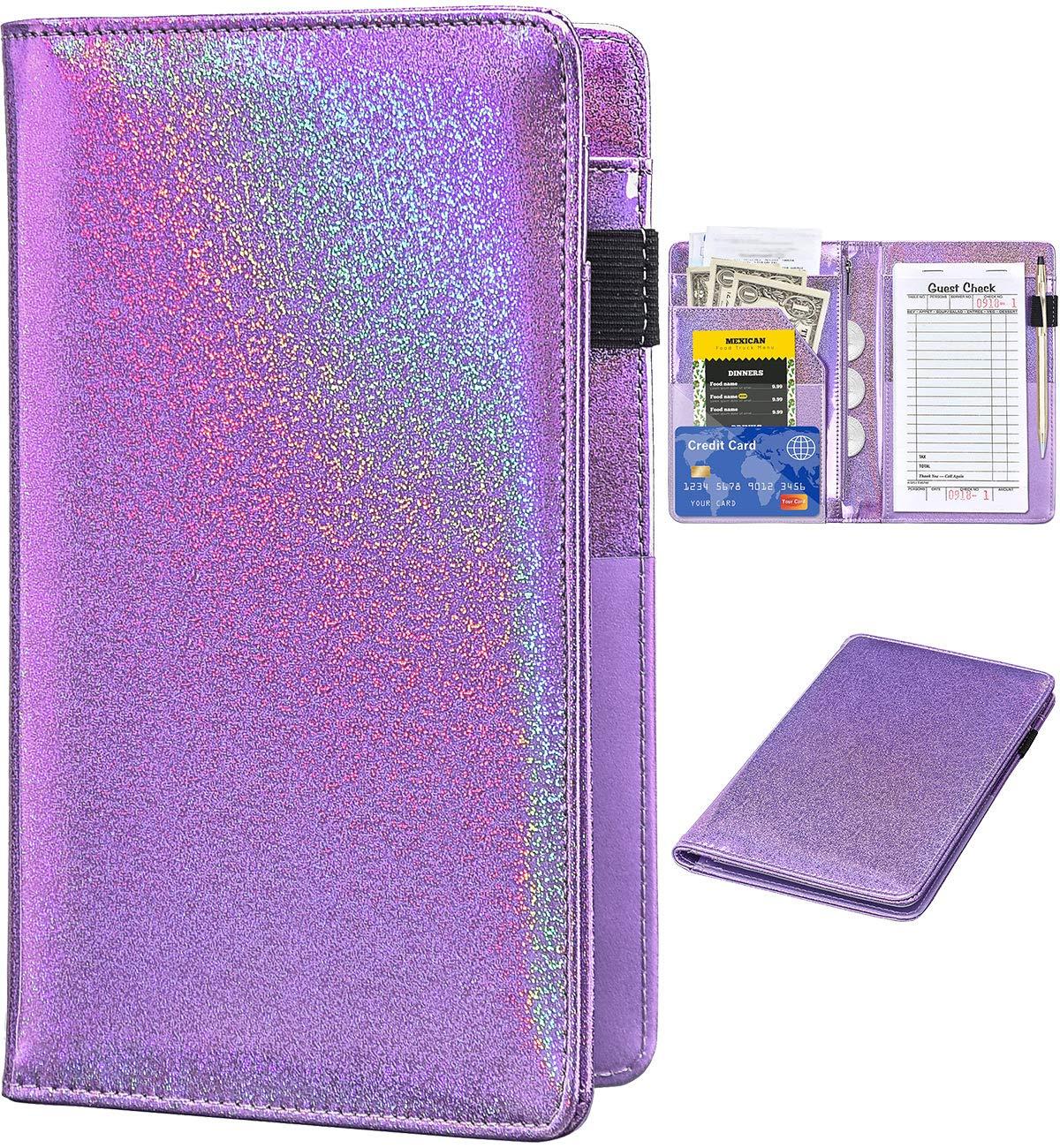 Server Books for Waitress - Glitter Leather Waiter Book Server Wallet with Zipper Pocket, Cute Waitress Book&Waitstaff Organizer with Money Pocket Fit Server Apron (Glitter Powdery Violet)