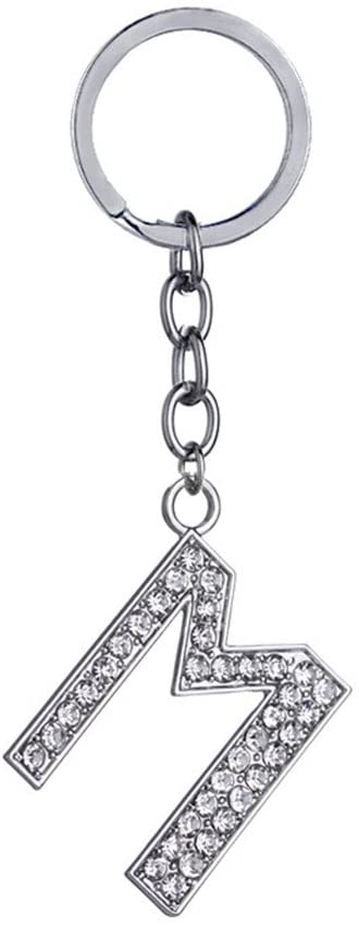 Key Chain 26 Alphabet English Letters Crystal First Initial Name Charms for Key Rings (M)