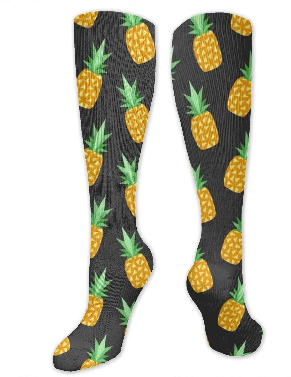 Compression Socks for Women Men Nurses Runners - Best Medical Stocking for Travel, Maternity, Running, Athletic, Varicose Veins - Summer Pineapple