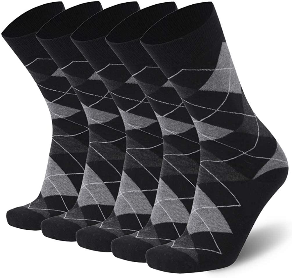 Mens Merino Wool Dress Socks,Calbom Lightweight Solid & Argyle Pattern Casual Crew Socks 3/5/6 PACK