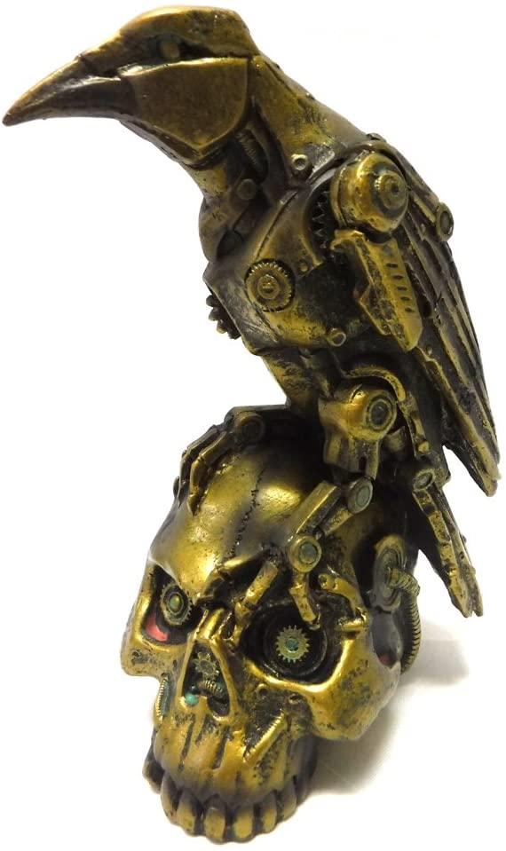 PTC Steampunk Dark Crow Raven Setting on Skull Skeleton Sculpture Statue