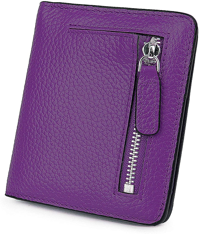 AINIMOER Small Leather Wallet for Women, Ladies Credit Card Holder RFID Blocking Women's Mini Bifold Pocket Purse
