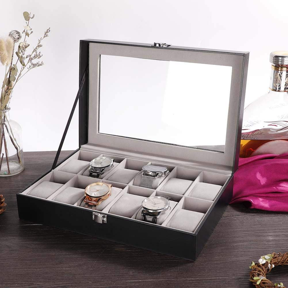 Black PU 12 Slot Watch Storage Box, Display Organizer Case Container for Men and Women Watch & Jewelry Large Holder Boxes Gift