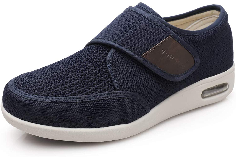 Men's Diabetes Elderly Shoes Plus Size Plus Fat Widening Velcro Adjustable Shoes Feet Swollen Shoes Non-Slip Double Insoles Air Cushion Bottom Walking Shoes Blue 5.5