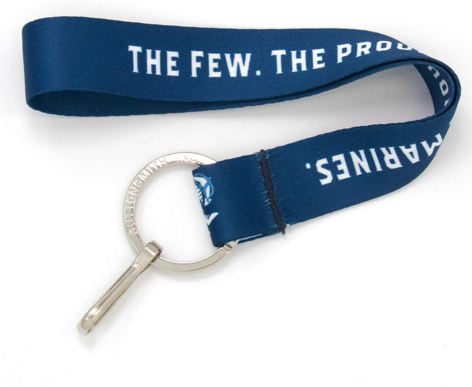 Buttonsmith The Few The Proud Blue Wristlet Key Chain Lanyard - Short Length with Flat Key Ring and Clip - Made in The USA