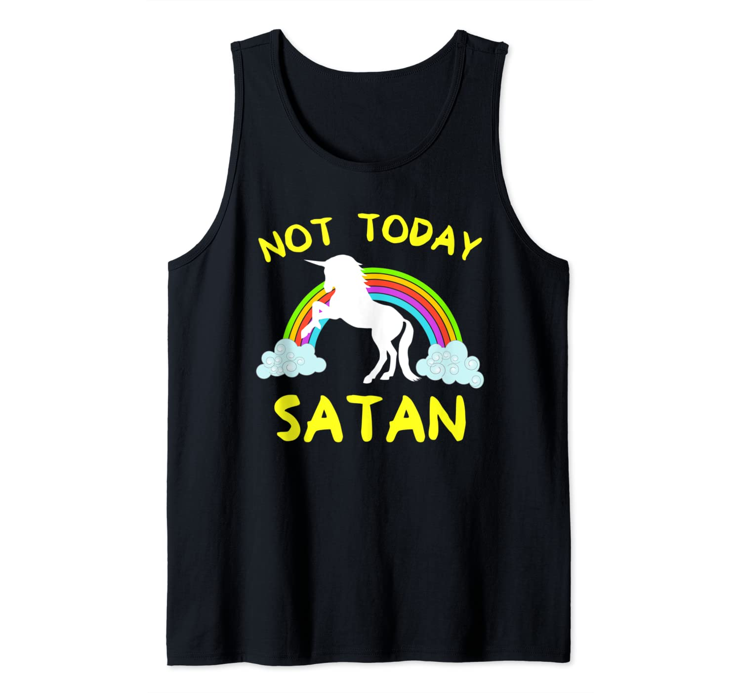 Funny Not Today Satan Rainbow Unicorn Christian VBS Gift Tank Top