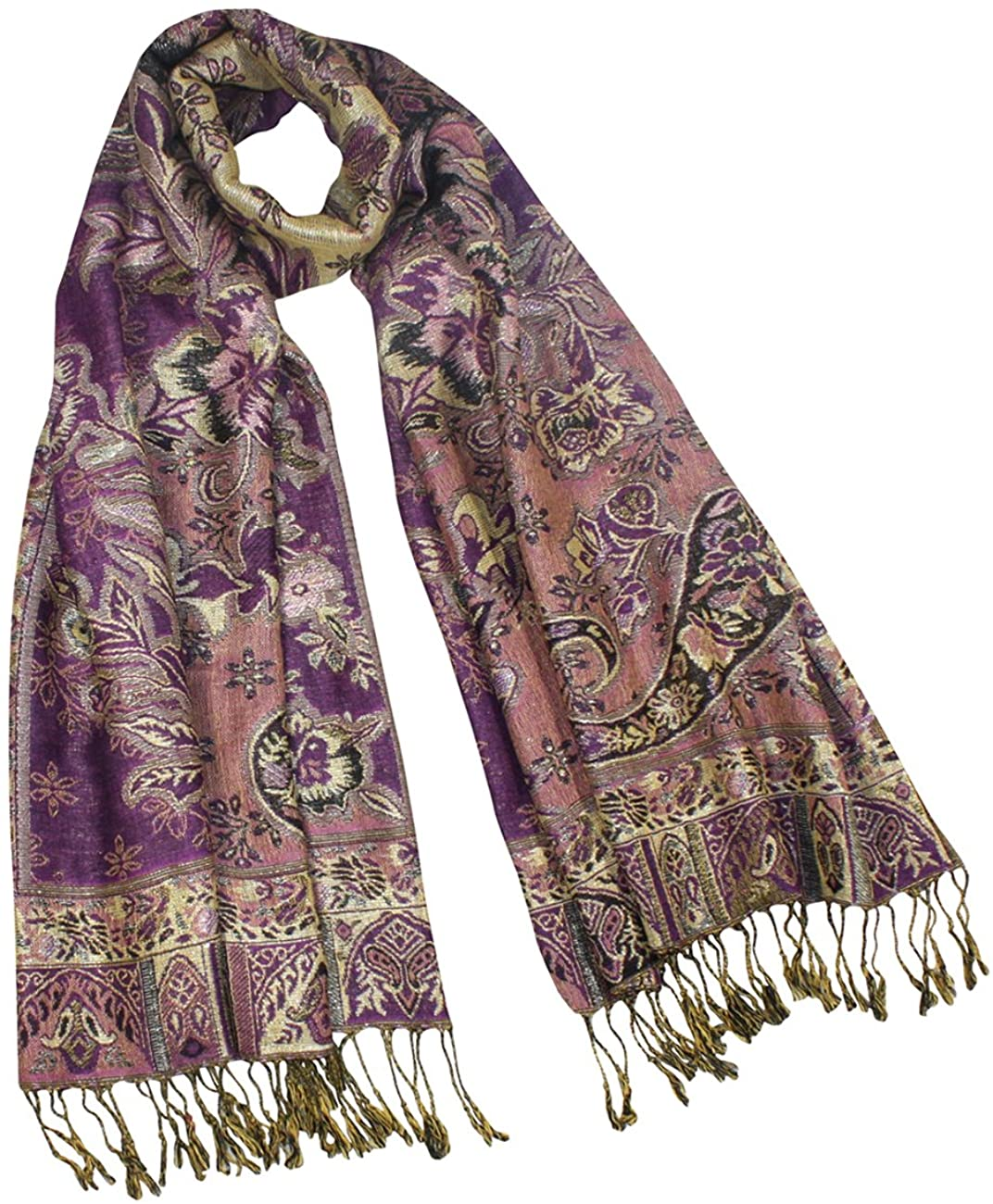 Rayon Metallic Paisley Flower Garden Two-Sided Reversible Scarf