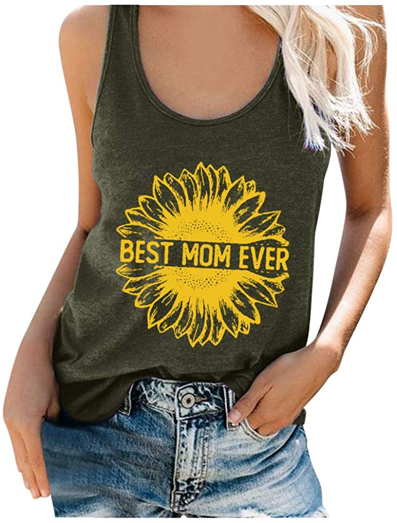 Women's Sunflower Print Tank Tops Vintage Summer U Neck Sleeveless Letter Graphic T Shirts Tees Tops