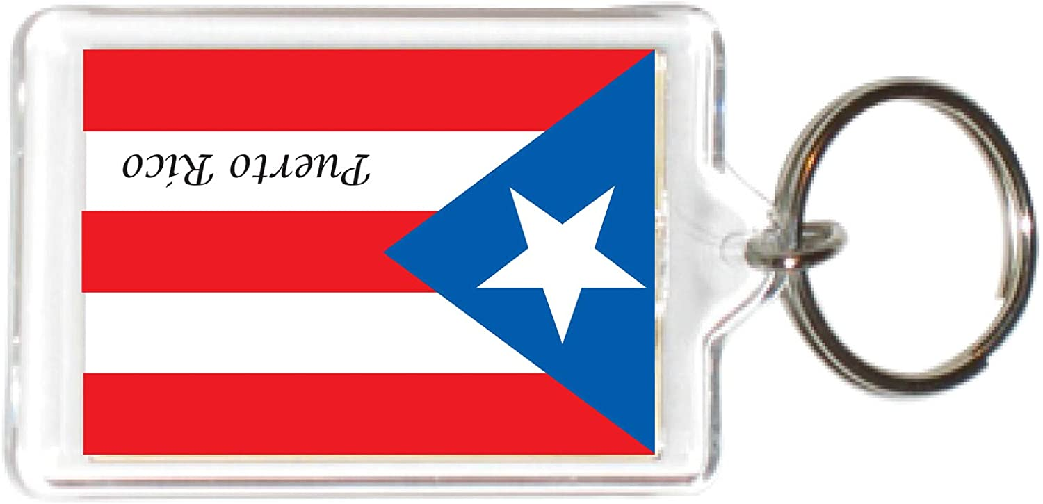 Flag USA United States Acrylic Keychains KeyRings Holders N - Z (3 Piece, State: PR Puerto Rico)