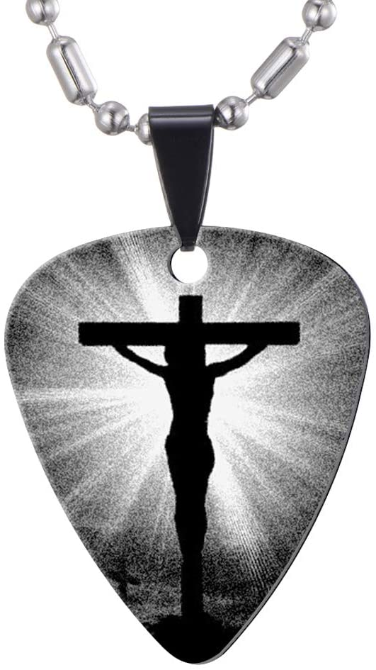 Jesus on The Cross Guitar Picks Necklace - Stainless Steel - Guitar Player Gift - Catholic Christian Gifts