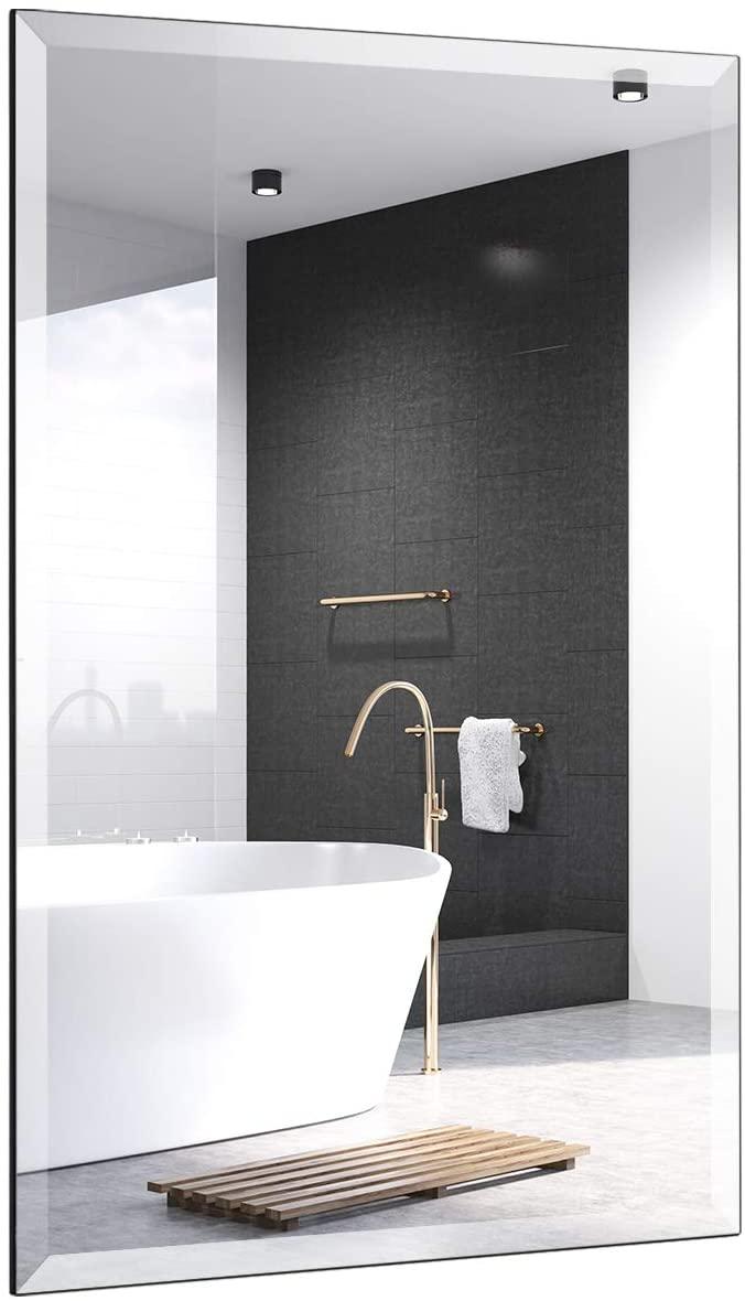 Tangkula Rectangular Wall Mirror, Wall Mounted Bathroom Mirror, Vanity Mirror Modern Decorative with Silver Mirror Dresser Mirror, Hanging Makeup Mirror for Bedroom, Living Room, Bathroom (24