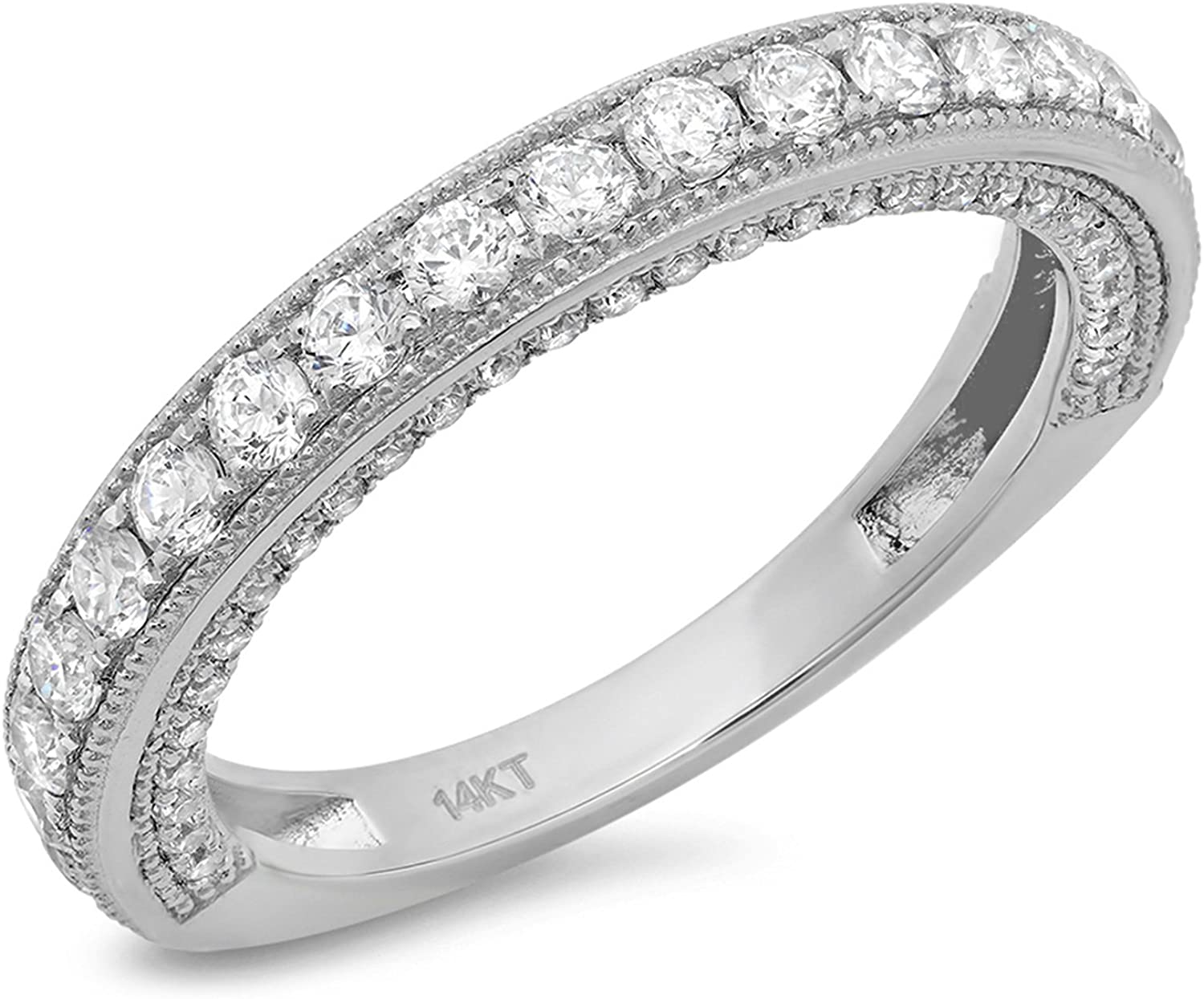 Clara Pucci 1.10 CT Round Cut Pave Set Designer Classic Eternity Band Ring Solid 14k White Gold
