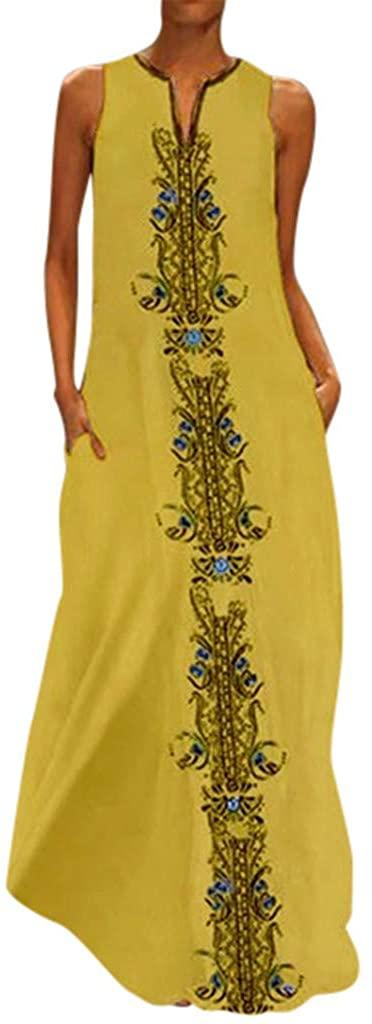 Womens Summer Dresses,Women's Vintage Bohemian V Neck Plus Size Print Sleeveless Maxi Dress