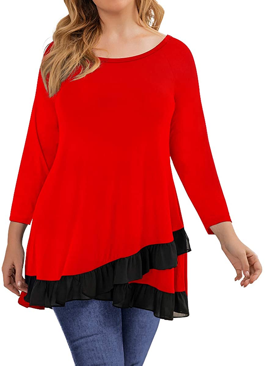 MONNURO 3/4 Sleeve Tunic Shirts Casual Loose Splicing Chiffon Plus Size Tops for Women with Leggings
