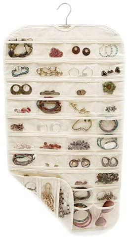 oAtm0eBcl 80 Pockets 2 Side Hanging Jewelry Organizer, Jewelry Accessories Necklace Earrings Organizer Closet Clear Storage Bag(White/Beige Yellow) Beige Yellow