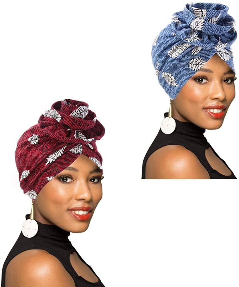1Pack/2Packs Women Turban African Pattern Headwrap Beanie Pre-Tied Bonnet Chemo Cap Hair Loss Hat
