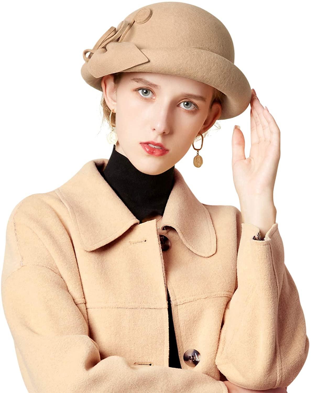 Z&X Womens Wool Felt Cloche Bucket Bowler Hat Winter Vintage Bow Fedoras Church Derby Fascinator Hat
