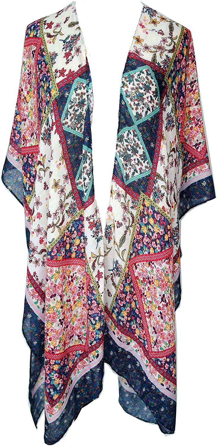 Women's Lightweight Beach Cover up Swimsuit Kimono Cardigan with Fashion Bohemian Floral Print