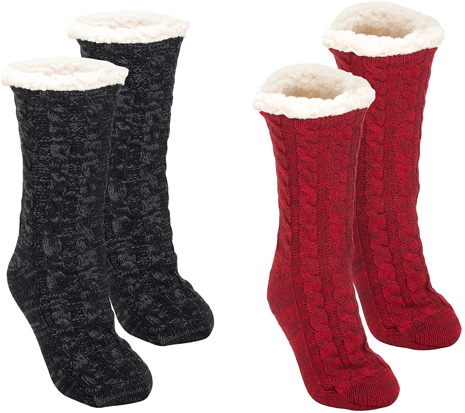Simple Knit Womens One Size Plush Lined Non Skid Slipper Socks Pack of 2