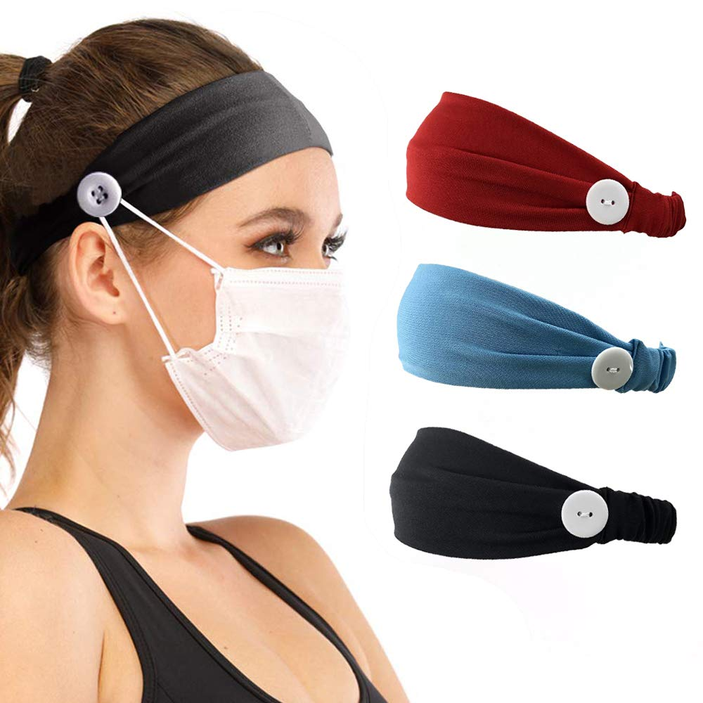 SolForis Headbands with Buttons for Nurses Women Head Wrap Face Cover Holder Hair Bands for Yoga Sports Workout 3 Pack (D)