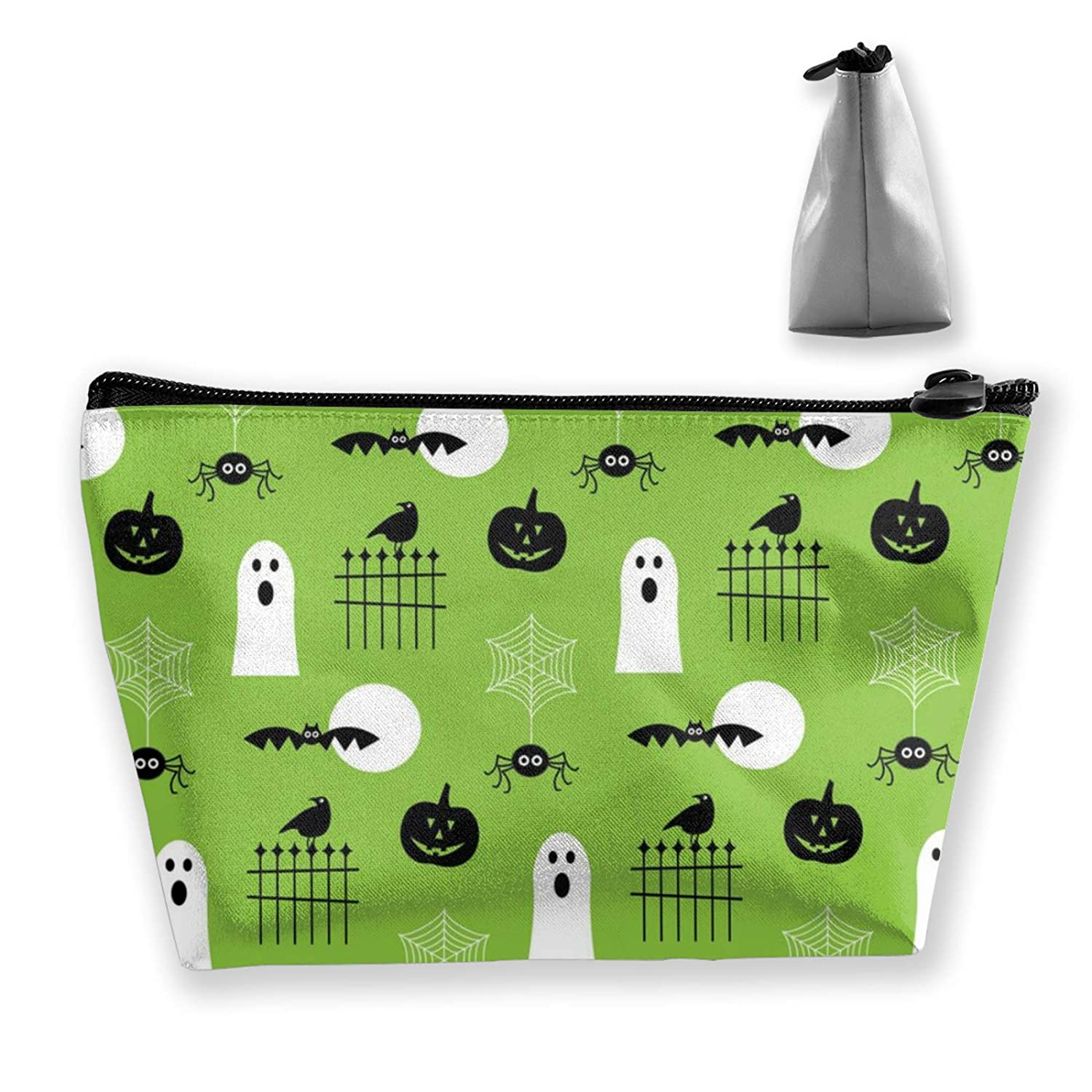 Women Girls Halloween Ghosts Green Make Up Bag Pouch For Makeup Brushes Jewelry Travel Large Capacity Travel Makeup Train Case Multi-Purpose Clutch Bag Luggage Pouch