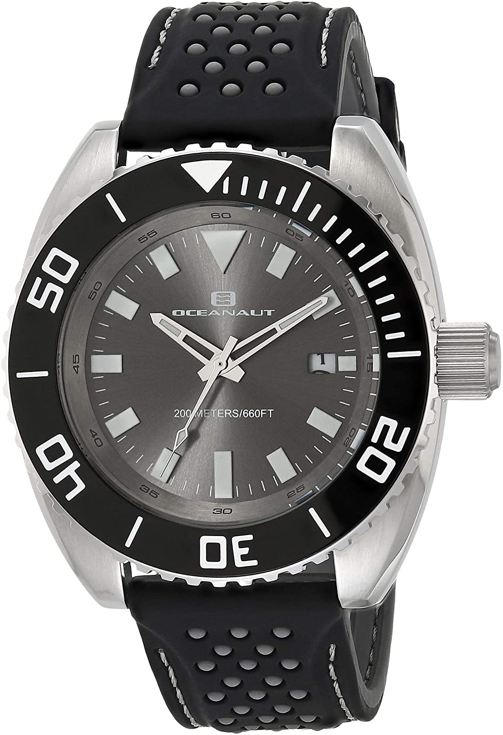 Oceanaut Men's Submersion Stainless Steel Quartz Camping Watch with Rubber Strap, Black, 21 (Model: OC0520)