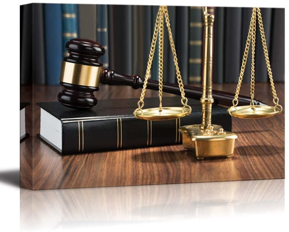 Canvas Prints Wall Art - Wooden Gavel on Book with Golden Scale on Table Justice Concept | Lawyer Office Art Stretched Gallery Canvas Wrap Giclee Print & Ready to Hang - 16