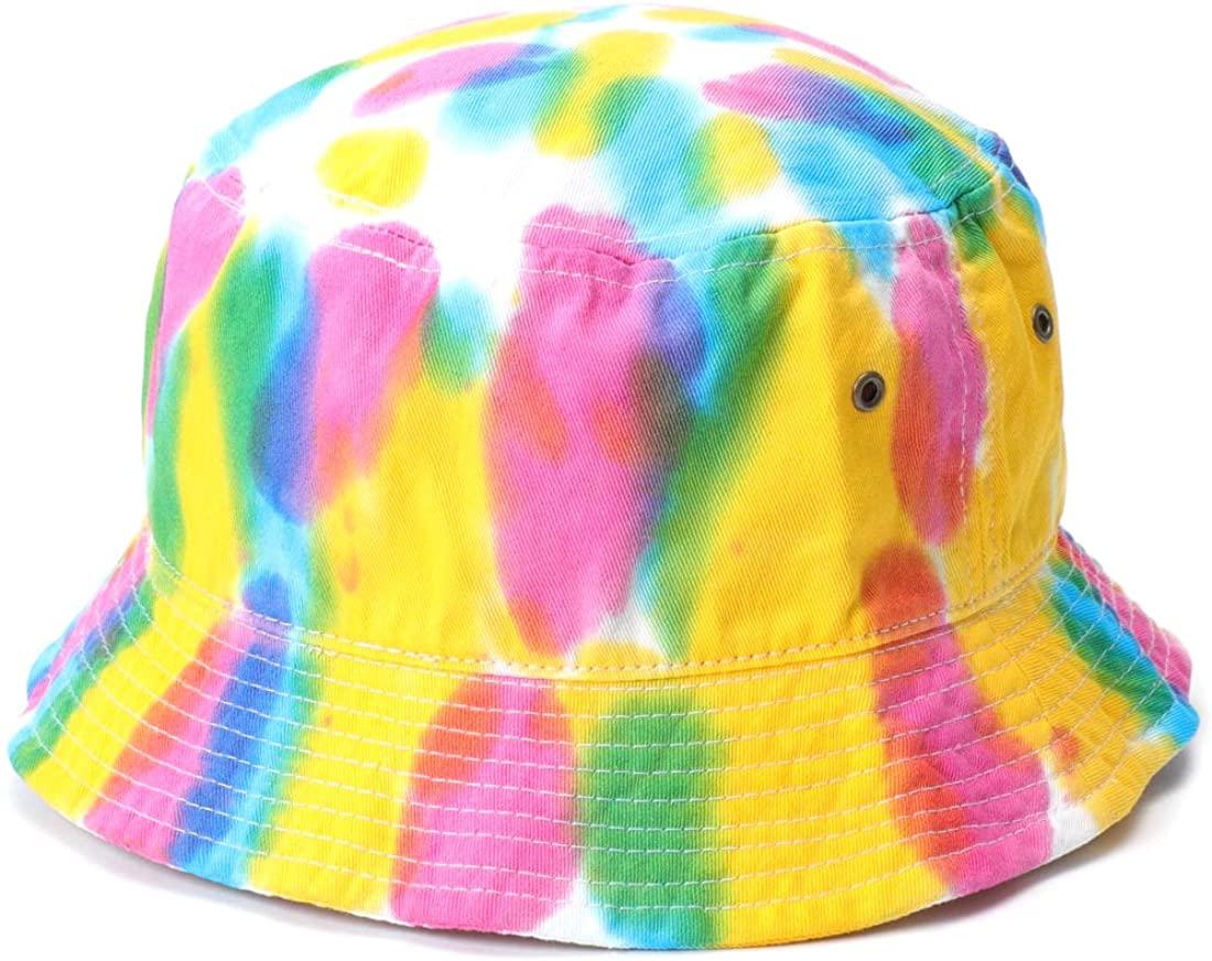 MIRMARU 100% Cotton Colorful Tie Dye Water Color Bucket Hat - Outdoor Fishing Hiking Safari Boonie Fishermans Hat.
