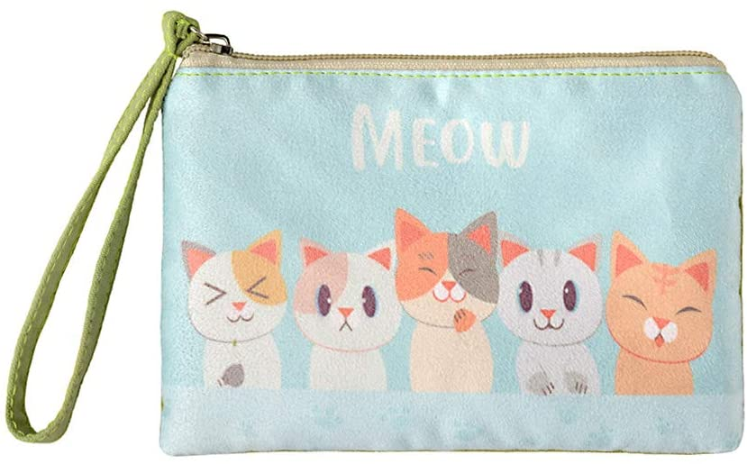 Rantanto Cute Canvas Cash Coin Purse, Make up Bag, Cellphone Bag with Handle (BG0016-1 Cat Meow)