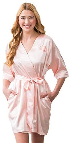 WEDDINGSTAR Women's Satin Robe with Pockets - Blush Pink 3XL / 4XL