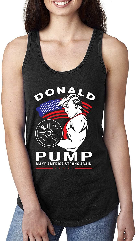 Donald Pump Funny Trump USA Weight Lifting   Womens Pop Culture Jersey Racerback Tank Top, Black, Medium
