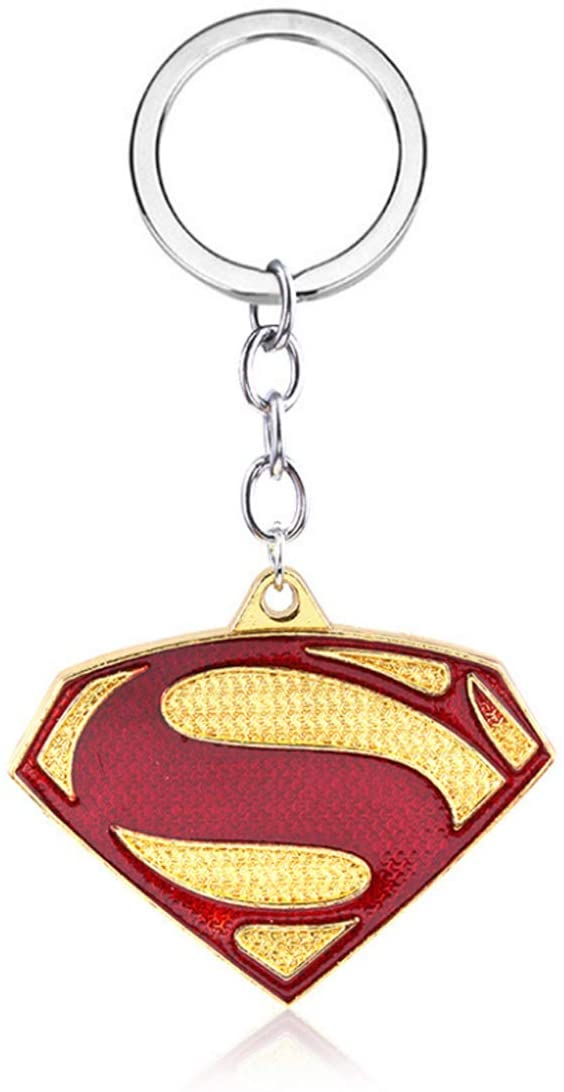 Novelty Anime Keychain Key Ring Decor Jewelry Charms Gifts for Teen Boys Girls Kids Men Women (Superman)