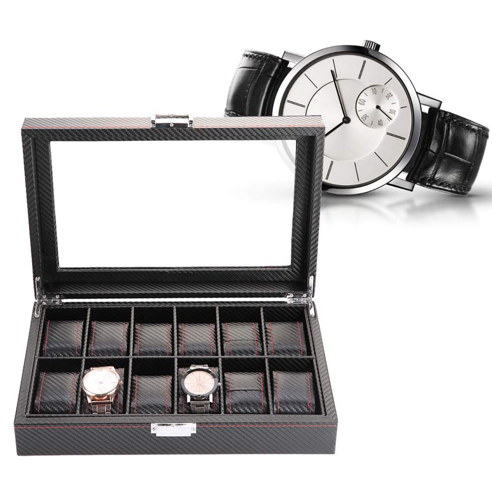 Watch Box,Watch Jewelry Display Storage Box - 12 Slot Watch Box Travel Carbon Fiber Case Jewelry Display Storage Collector Organizer, for Birthday Fathers Mothers Day Gifts