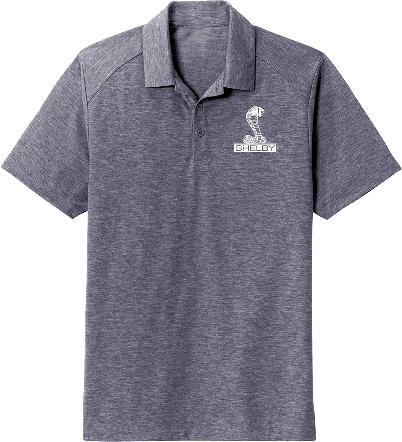 Ford Mustang Shelby Cobra Pocket Print Wicking Polo, Navy 2XL