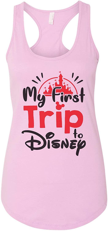 "FunnyThreadz Women's Tank Top ""My First Trip to Disney"" Ideal Tank Top - X-Large, Lilac"