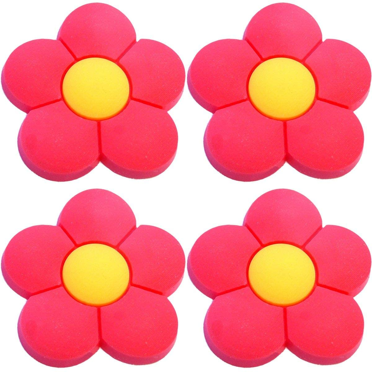 Four (4) of Red Flower Rubber Charms for Wristbands and Shoes