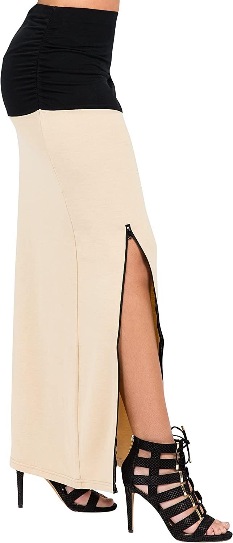 Poetic Justice Curvy Women's Champagne Black Zip Up Split Stretch Maxi Skirt