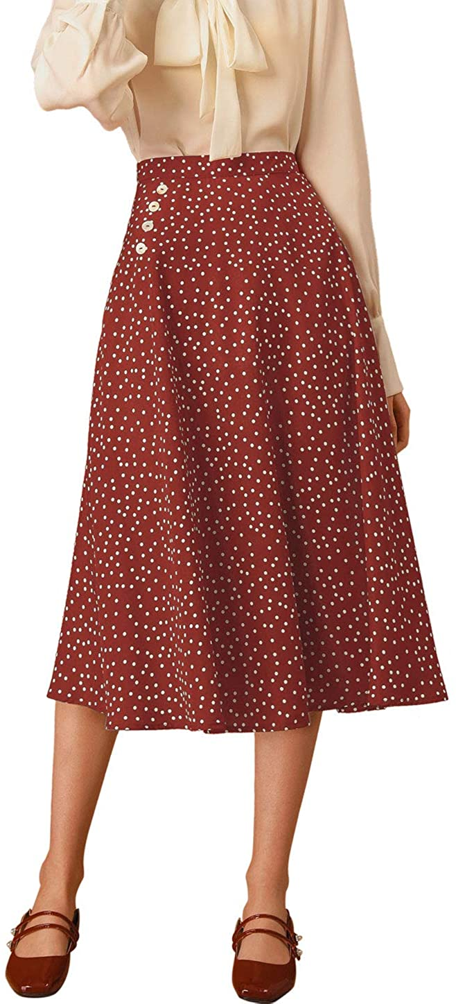 Allegra K Women's Retro Polka Dots Elastic Waist Vintage A-Line Midi Skirt