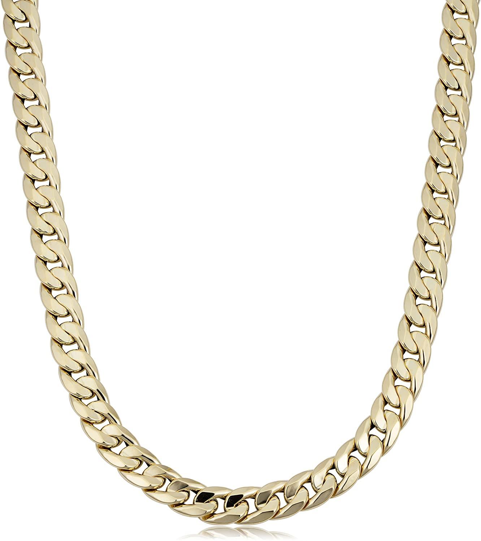 Kooljewelry Mens 14k Yellow Gold Cuban Curb Link Necklace (9.2 mm, 22 inch)