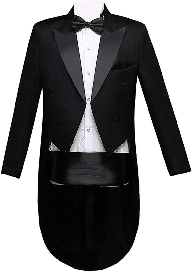 Qinni-shop Men Formal Magic Show Costume Tailcoat Jacket Tuxedo Suits 4 Piece